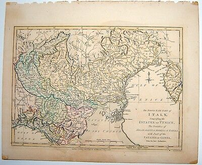 Robert Wilkinson 1791 Engraved Hand Colored Map Of Italy Estates Of Venice Map