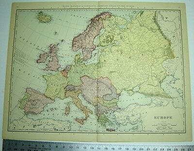 EUROPE RAND McNALLY INDEXED ATLAS MAP 1898 LARGE 21 BY 28 INCHES