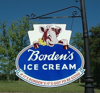 "Borden's Elsie The Cow 24"" Ice Cream Dairy Farm Kitchen 2-Sided Sign Usa Made!"