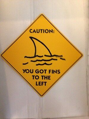 Jimmy Buffet Margaritaville  Fins To The Left Caution Sign