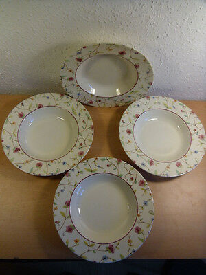 4 Royal Stafford England Floral Soup Bowls or Dessert Dishes.Fine Earthenware
