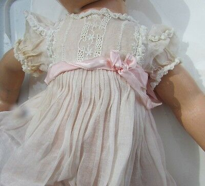 "Madame Alexander Doll Gorgeous Organdy Lace Embroidered Pink Dress 20"" Tagged"