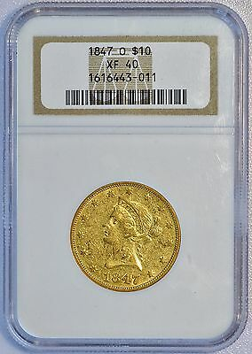 1847 O $10 US Liberty Head Gold Eagle Coin Old NGC XF 40 SCARCE New Orleans Type