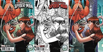 Peter Parker Spectacular Spiderman 1 Nauck Nycc Virgin 3Pk Variant Nm  Amazing