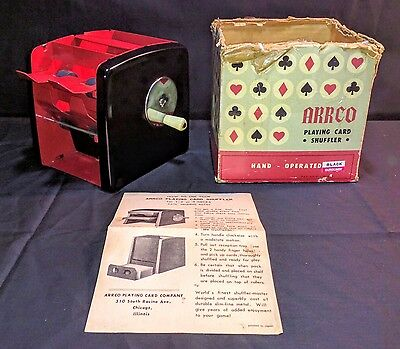Vintage 1960's Arrco Playing Card Shuffler Hand - Operated Original Box Great