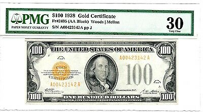 1928 $100 Gold Certificate, Fr. 2405, Very Fine (VF-30) Condition (PMG)