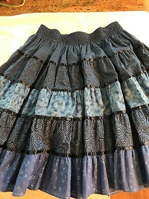 Square Up Blue Ruffled Tiered Floral Swirl Dancing Skirt size Medium