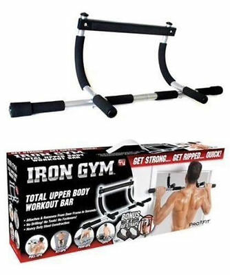 Original Iron Gym Pull Up Bar With Free AB Straps Door use Push Up Sit Ups