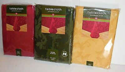 Christmas Holiday Poinsettia Scroll Fabric Tablecloth Ruby Red Or Gold Or Green
