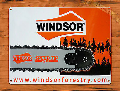 "TIN-UPS TIN SIGN ""Windsor Chain Saws"" Vintage Rustic Wall Decor"