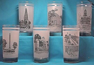 TEXAS SESQUICENTENNIAL 150 Years GLASSES Set of 6 1836 - 1986