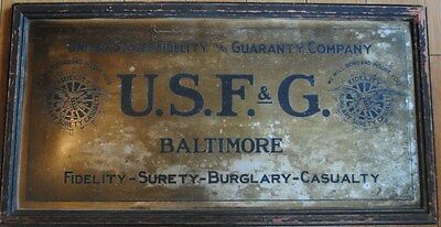 Antique Baltimore U.s.f.&g Insurance Sign U.s.f&g Metal With Original Frame