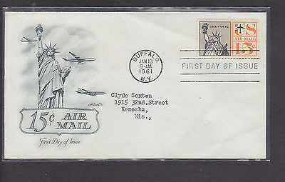 Usa-Air Mail Cachet Cover-15 Cent Airmail-First Day Of Issue