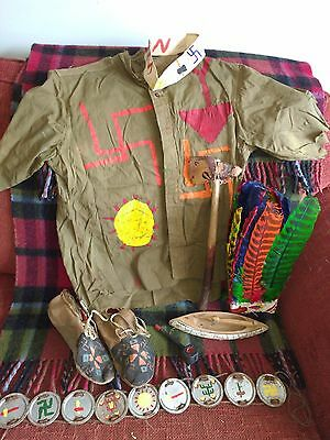 Vintage 1950's Child Made Indian Native American Outfit Folk Art Boy Scouts