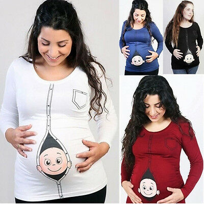 Pregnant Women Long Sleeve T-shirt Maternity Peeking Baby Funny Print Top Blouse