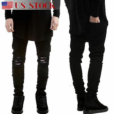 Men's Ripped Skinny Biker Jeans Distressed Frayed Slim Fit Denim Pants Trousers