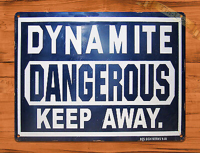 "TIN-UPS TIN SIGN ""Dynamite Danger Keep Away"" Construction Retro Art Wall Decor"