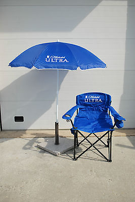 Michelob Ultra Throne Chair, Cooler, Cup Holder & Umbrella ~  Rare and Unique