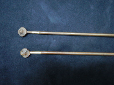 Antique French pair of rods poles  curtain brass with finials extendable