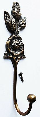 Vintage French Solid Brass Rose Wall Hook Coat Hanger Hanging Key Holder 6722