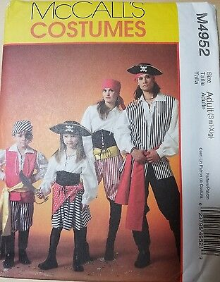 McCalls M4952 ADULT SM-XL PIRATE COSTUME REENACTMENT COSPLAY THEATRE