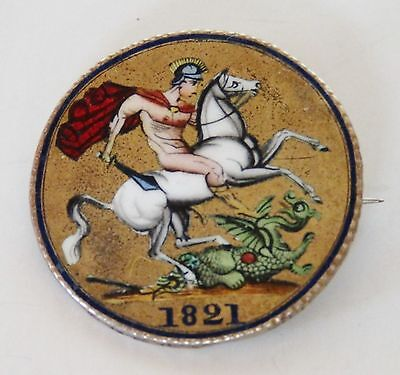 Antique Enamelled George Slaying Dragon 1821 George Iv Silver Crown Coin Brooch