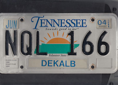 "TENNESSEE passenger 2004 license plate ""NQL 166"" ***NATURAL***DEKALB***"