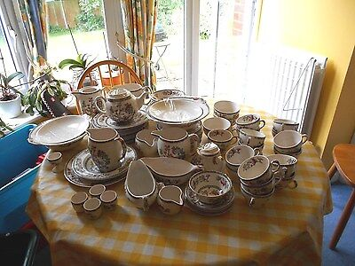 Johnson Brothers Indian Tree-plates, bowls, tea pot, egg cups, jugs, cake plate