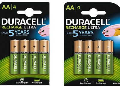 8 x Duracell AA 2500 mAh Rechargeable Batteries  NiMH, HR6 MN1500 -Pre Charged
