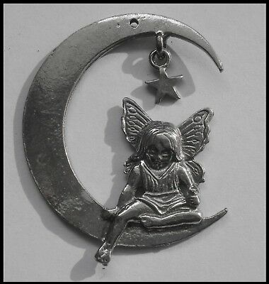 PEWTER CHARM #312 FAIRY sitting on MOON (50mm) 1 hole - for craft, suncatcher