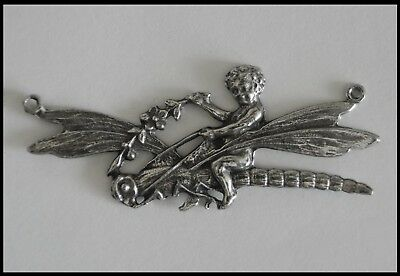 PEWTER CHARM #304 FAIRY on DRAGONFLY 55mm x 23mm 2 hole for making necklace