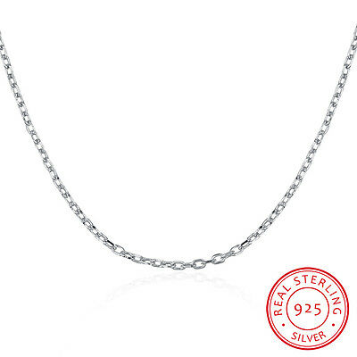 GENUINE 925 Sterling Silver Solid 1MM Link Chain Necklace for Pendant Jewelry