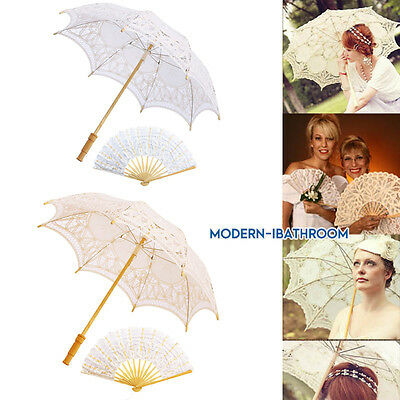 Lady Woman Lace Umbrella Parasol Romantic Wedding Fan Photograph Ivory White22cm