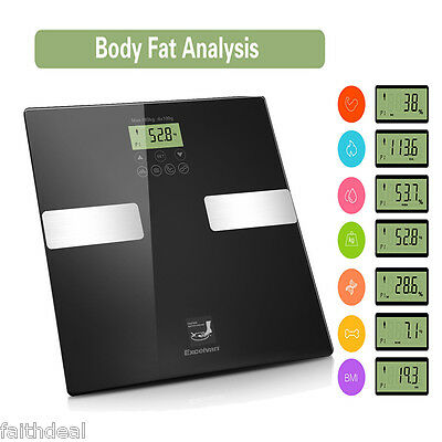 Digital LCD Body Fat Scale 180KG BMI Weight Calorie Analyser Electronic Bathroom