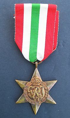 Original Ww2 British Italy Star Bronze With Ribbon Full Size