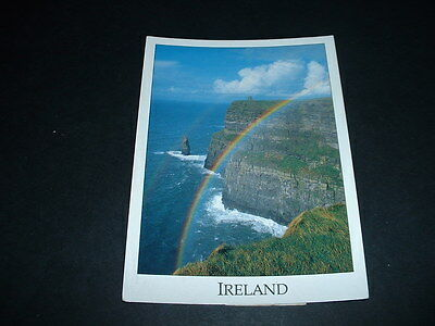 IRISH. POSTCARD  RAINBOW AT THE CLIFFS OF MOHER Co CLARE IRELAND