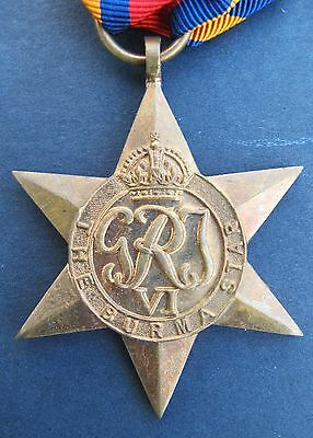 Original British Burma Star Ww2 Campaign Medal Full Size Wwii W/ribbon