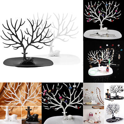 Elegant Jewellery Display Holder Tree Stand Earring Necklace Bracelet Rings Tray