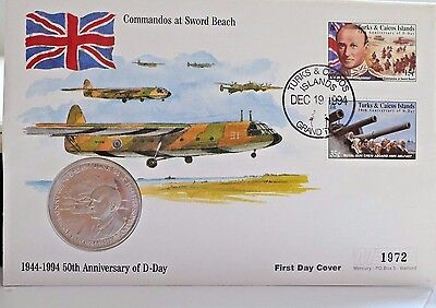 History Of World War 2 Turks & Caicos 1st Day Cover & 5 Crown Sir Bertram Ramsay