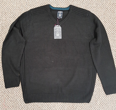 Mens Size 2XL Kensington Eastside Black Larvik Knit Knitted Jumper Pullover Top