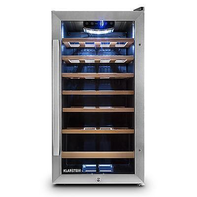 Klarstein Wine Refrigerator 26 Bottles 88L Led Light Black Restaurant Home Bar
