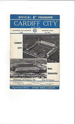 Cardiff City v Real Zaragoza Cup Winners Cup 1964/65 Football Programme