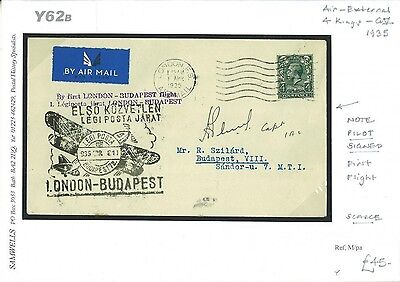 DBY62b 1935 London Pilot Signed FFC/Budapest
