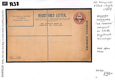 Y238 1907 GB MOROCCO AGENCIES Overprint Registered Postal Stationery E Unused
