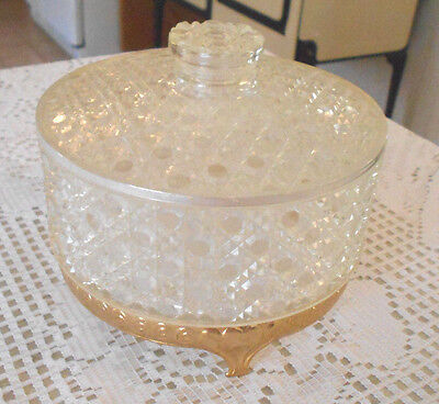 Vintage AVON Faceted Pattern ROUND FOOTED Clear PLASTIC DUSTING POWDER BOX w LID