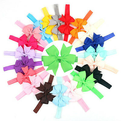 20 Pcs/Set Multi Elastic Baby Headdress Kids Hair Band Girls Bow Headband Ribbon