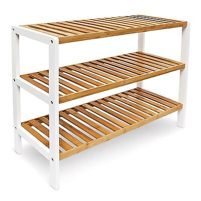 Natural Bamboo 3 Tier Wooden Shoe Rack Organiser Stand Shoes Storage Unit Shelf