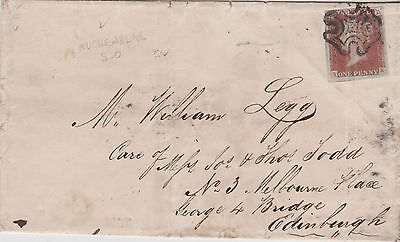 1843 QV AUCHENBLAE VILLAGE WRAPPER WITH 1d PENNY RED IMPERF STAMP MALTESE CROSS