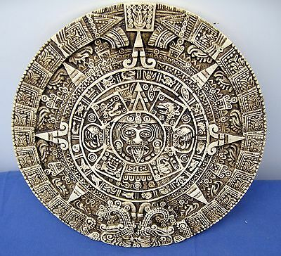 "MAYAN WALL PLAQUE ~ Tzolkin Sacred Round 260-day CALENDAR ~ 10"" DIa."