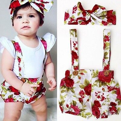Toddler Kid Baby Girl Shirt Tank Top+Pants+Headwear Jumpsuit Playsuit Outfit Set